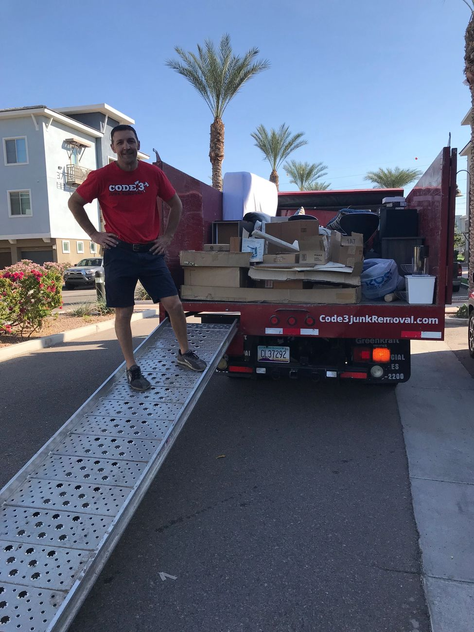Curbside Pickup Load in Code 3 Junk Removal Truck