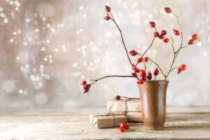flowers, vase and gifts