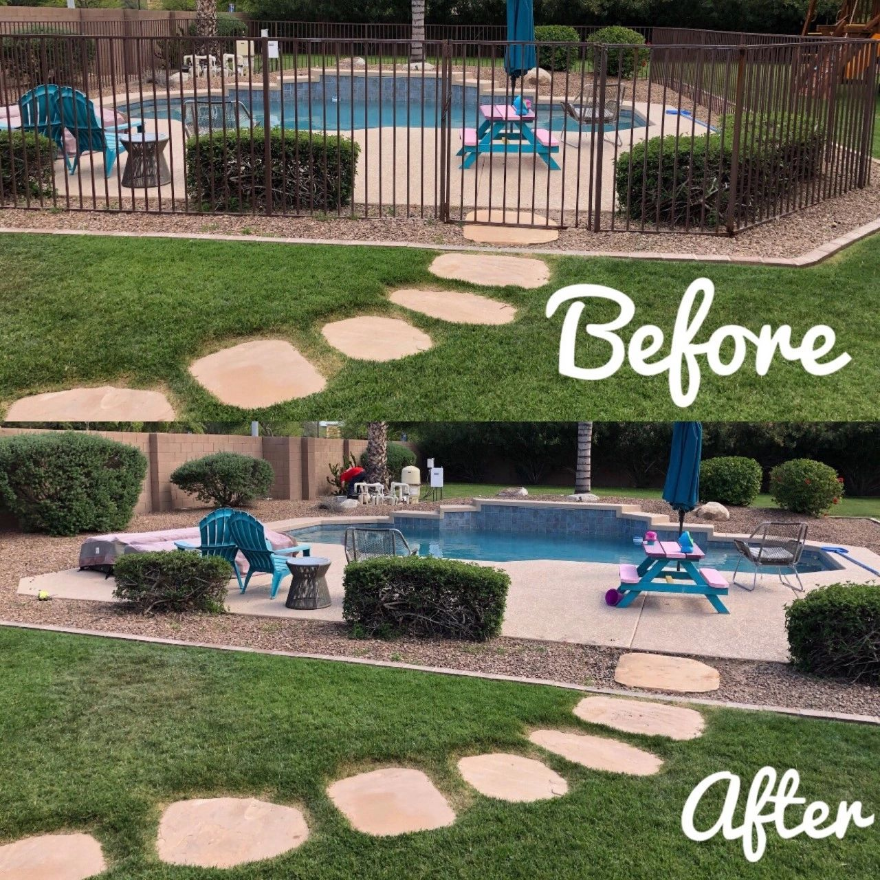 Pool Fence Removal Before & After